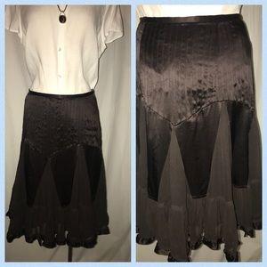 Banana Republic pleated brown silk skirt